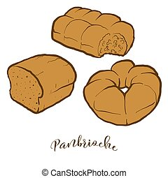 dessin, pain, coloré, panbrioche