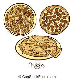 dessin, pain, coloré, pizza