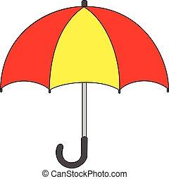 dessin, parapluie, isolé, illustration, dessin animé