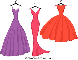 dessin, silhouettes, soir, femme, vecteur, robes