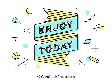 dessin, today., vendange, jouir de, ligne, bannière ruban, style