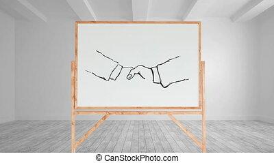 dessin, toile, poignée main, vide