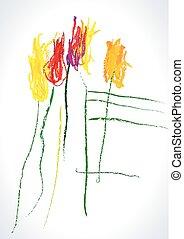 dessin, tulipanes, vector