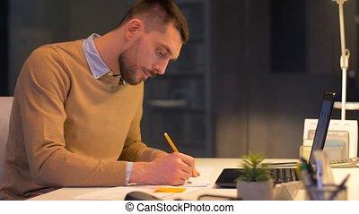 dessinateur toile, bureau, fonctionnement, ordinateur portable, nuit