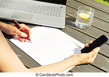 dessinateur toile, mobile, wireframe, application, dessin