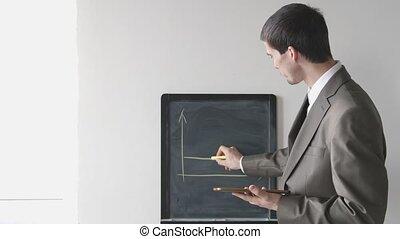 dessine, 4k, complet, jeune, créatif, craie, 3840x2160, board., homme affaires