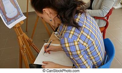 dessine, artiste, art, femme, croquis, crayon, studio