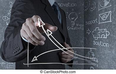 dessine, business, reussite, diagramme, main, homme affaires