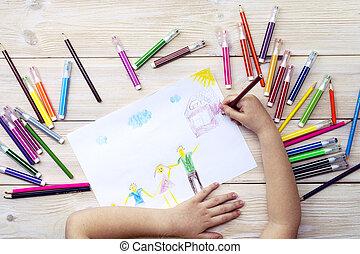 dessine, enfant, anniversaire, enfant, carte, heureux, feutre, dessin, pencils., fait, sien, family., coloré, stylos