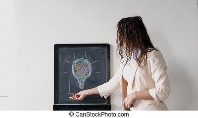 dessine, femme affaires, diagrammes, jeune, planche, complet, créatif