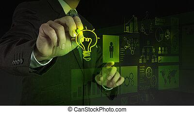 dessine, homme affaires, lightbulb, interface, informatique, main, nouveau