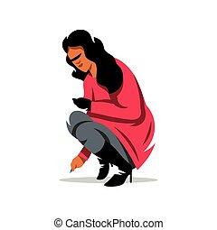 dessine, illustration., asphalte, craie, vecteur, girl, dessin animé