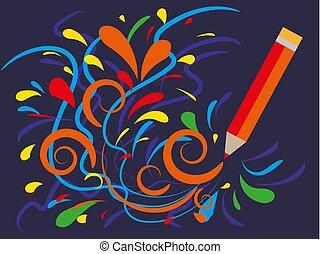 dessine, shop., boucles, multicolore, vecteur, publicité, pencil., dessin