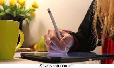 dessine, type, stylo, tablette