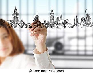 dessine, voyage, rêve, main femelle