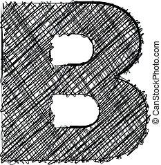 dessiner, b, font., lettre, main