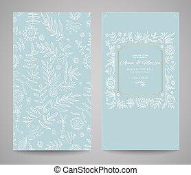 dessiner, cadre, invitations, main, orné, floral, fleurs,...