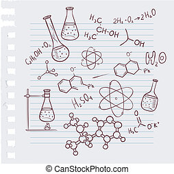 dessiner, chimie, fond, main