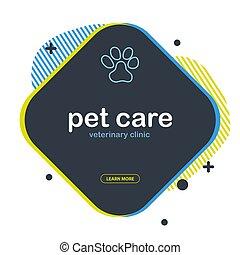 dessiner, chouchou, griffonnage, chien, animals., arrière-plan., chat, paws., maison, care., main, bannière, ou