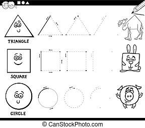 dessiner, coloration, formes, fondamental, géométrique, page