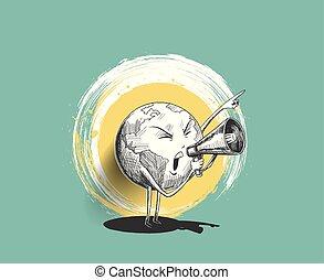 dessiner, concept, illustration., croquis, main, megaphone., vecteur, conception, tenue, social, advertising., la terre, réseaux, promotion