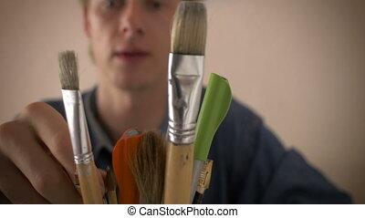 dessiner, coup, choix, pot, haut, stylo, brioche, chariot, fin, homme
