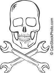 dessiner, crâne, main, vecteur, traversé, clés