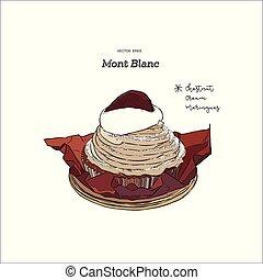 """dessiner, crème, blanc"""", châtaignes, francais, main, traditionnel, vector., gâteau, croquis, """"mont"""