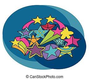 dessiner, doodle., set., gratuite, main, conception, étoiles, dessin animé