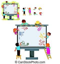 dessiner, ensemble, grand, panneau affichage, enfants, heureux