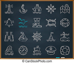 dessiner, ensemble, icônes, craie, vecteur, ligne, marin