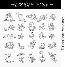 dessiner, ensemble, icônes, fish, main, aquarium