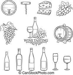dessiner, ensemble, icônes, main, vecteur, vin blanc