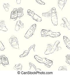 dessiner, femme, chaussures, modèle, seamless, main, homme, fond, croquis, enfants