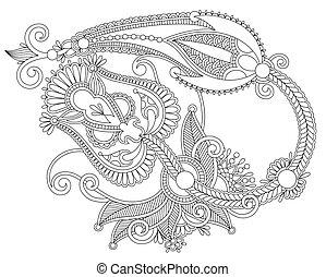 dessiner, fleur, art, main, conception, orné, ligne