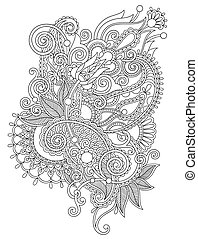 dessiner, fleur, art, main, conception, orné, ligne, ...
