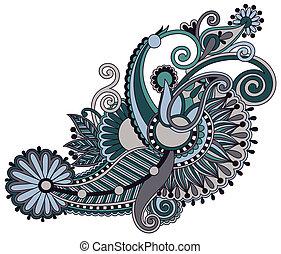 dessiner, fleur, art, ukrainien, style, main, traditionnel, ...