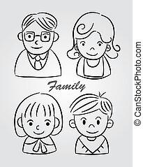 dessiner, main, dessin animé, famille, icône