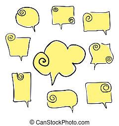 dessiner, main, discours, jaune, tordu