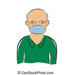 dessiner, main, homme, blanc, masque, simple, vieux, malade, croquis, vecteur, utilisation, isolé