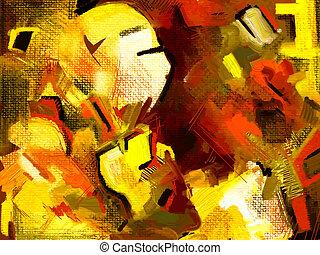 dessiner, résumé, original, main, numérique, peinture, composition