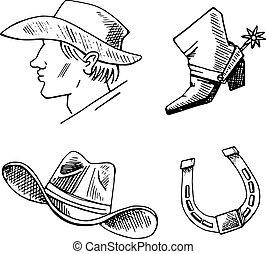 dessiner, set., croquis, main, vecteur, occidental