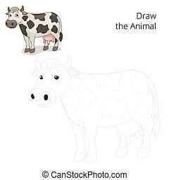 dessiner, vache, pédagogique, jeu, vecteur, animal