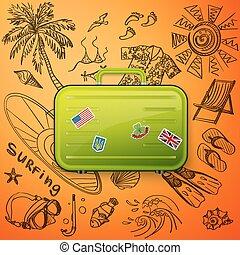 dessiner, valise, touriste, icône, main