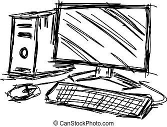 dessiner, vecteur, personnel, set., croquis, illustration, main, informatique, doodles