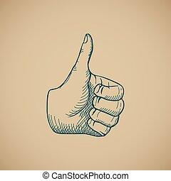 dessiner, vendange, haut, main, vecteur, pouces, croquis