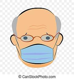 dessiner, vieux, transparent, vecteur, malade, croquis, homme, simple, main, effet, masque, fond, utilisation