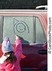 dessiner, voiture, peu, givré, figure, fenêtre, girl, heureux