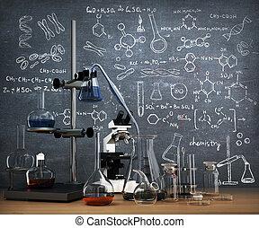 dessiner, whiteboard., concept., chimique, objets, essai laboratoire, table, chimie, tubes
