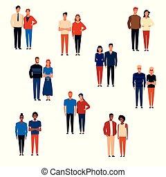 dessins animés, groupes, gens